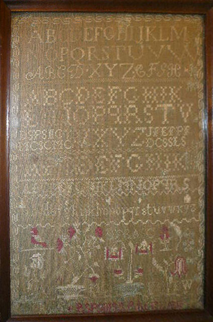 New England Sampler on Green-Linsey-Woolsey-circa 1815