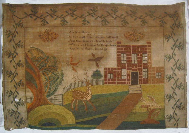 Unsigned Pictorial Sampler, circa 1780